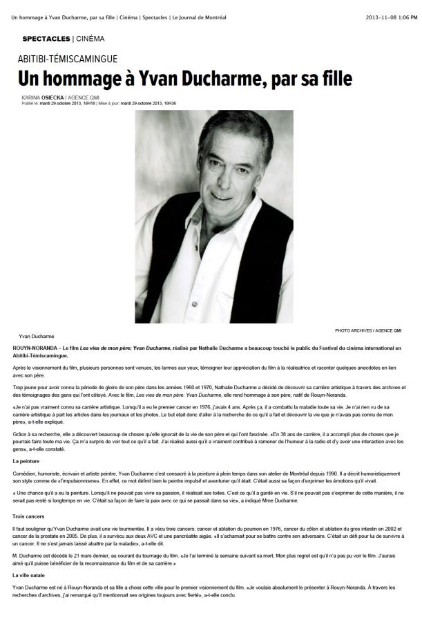 artcile journal de montreal - un hommage