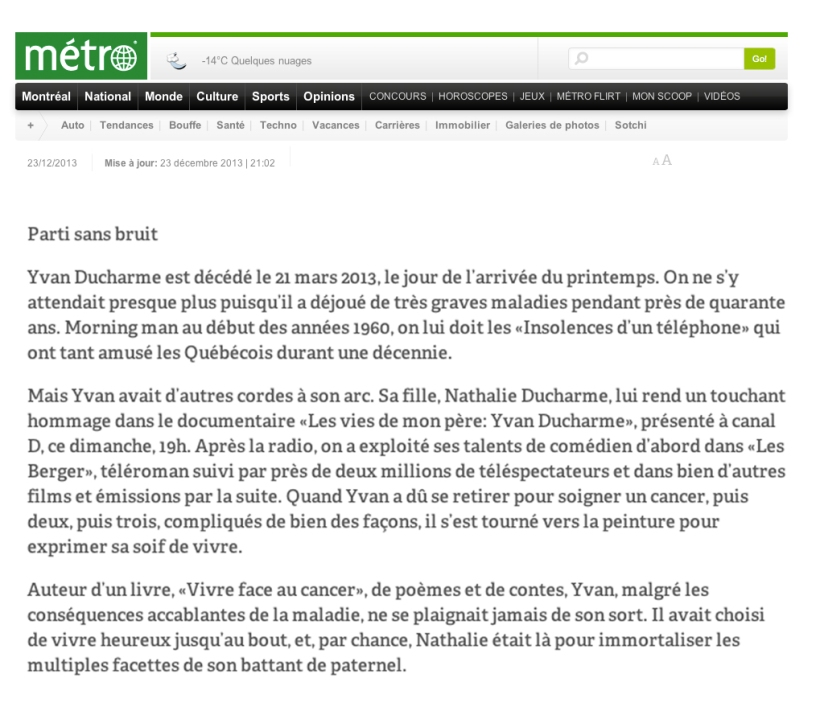 journal metro - parti sans bruit