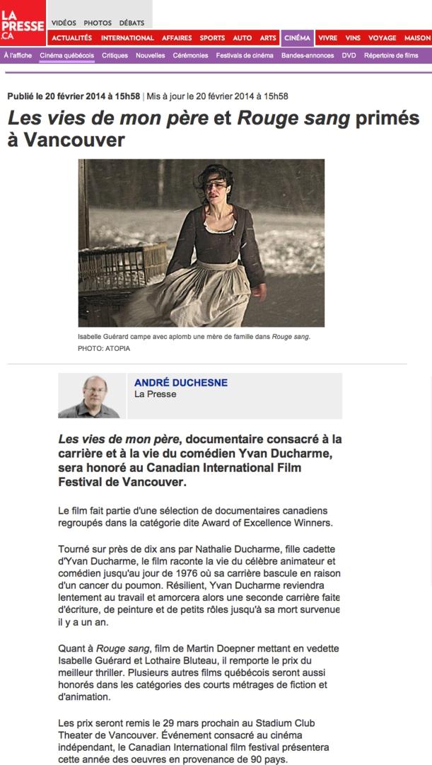 Article LA PRESSE  (20 février 2014)
